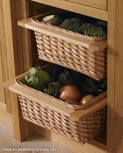 These Kitchen Wicker Baskets Offer A Practical And Attractive Storage Solution For Fruit And Vegetables